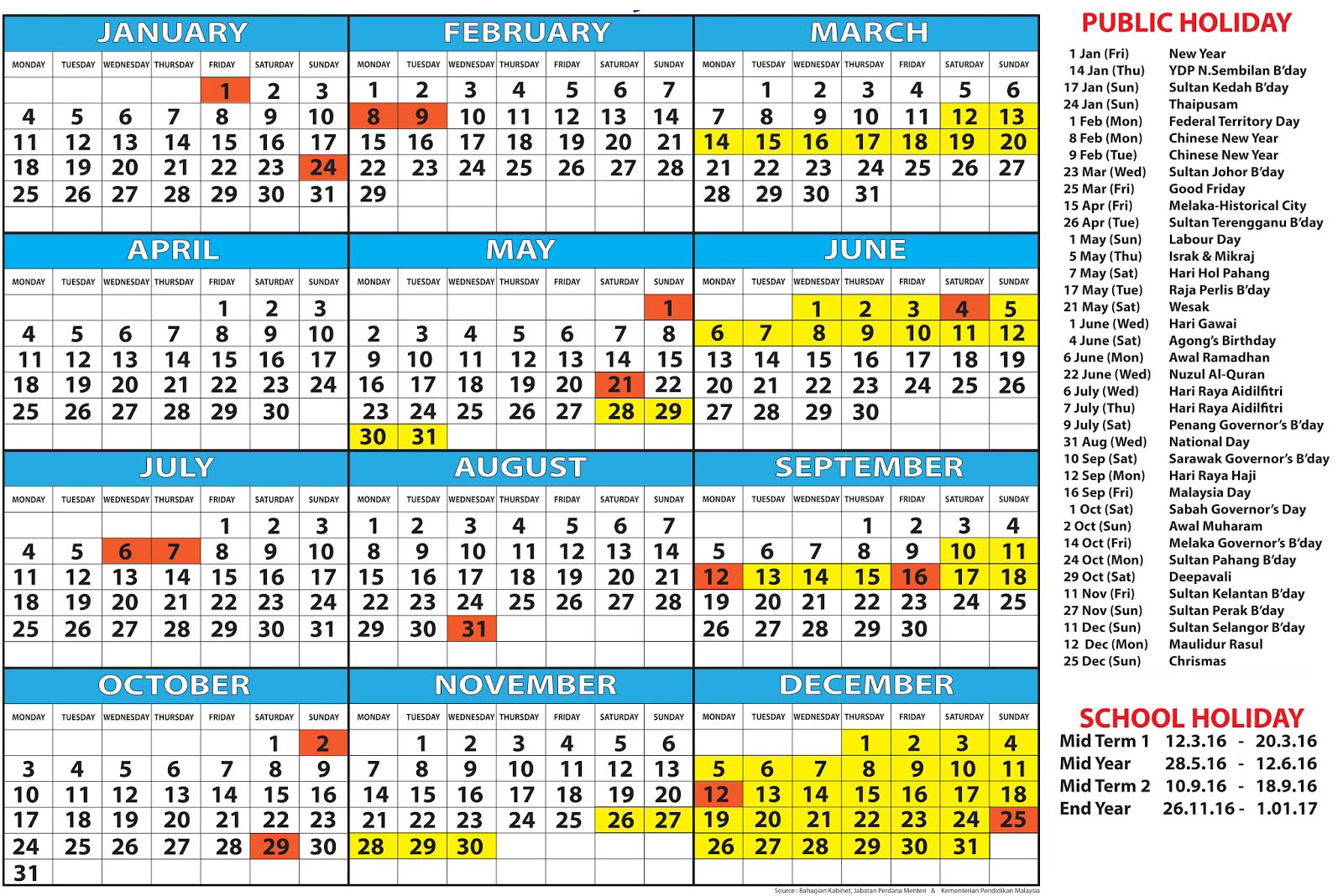 January 2018 Calendar Malaysia | | 2018 january calendar