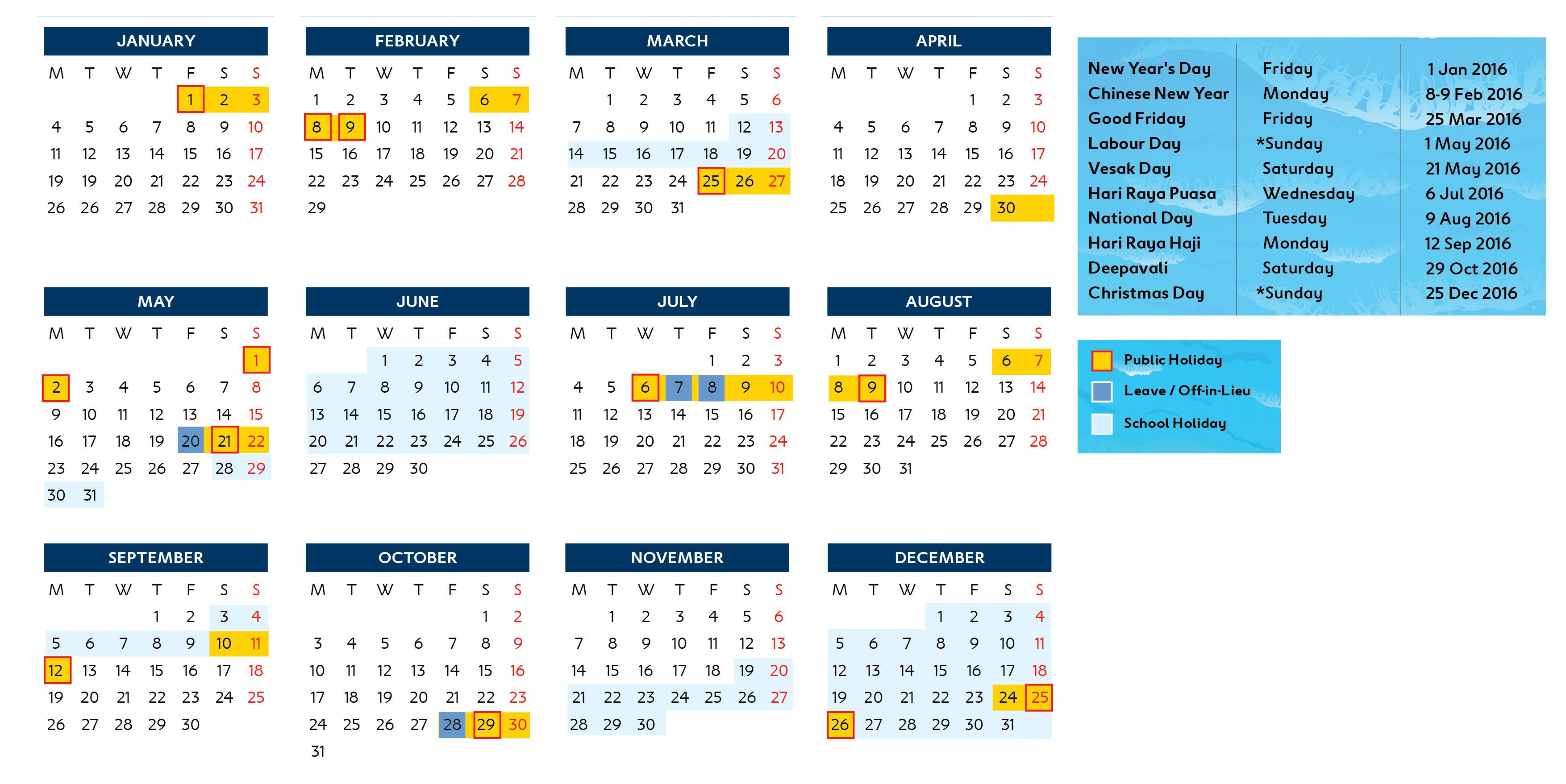 Calendar Singapore : Singapore calendar blue heaven divers