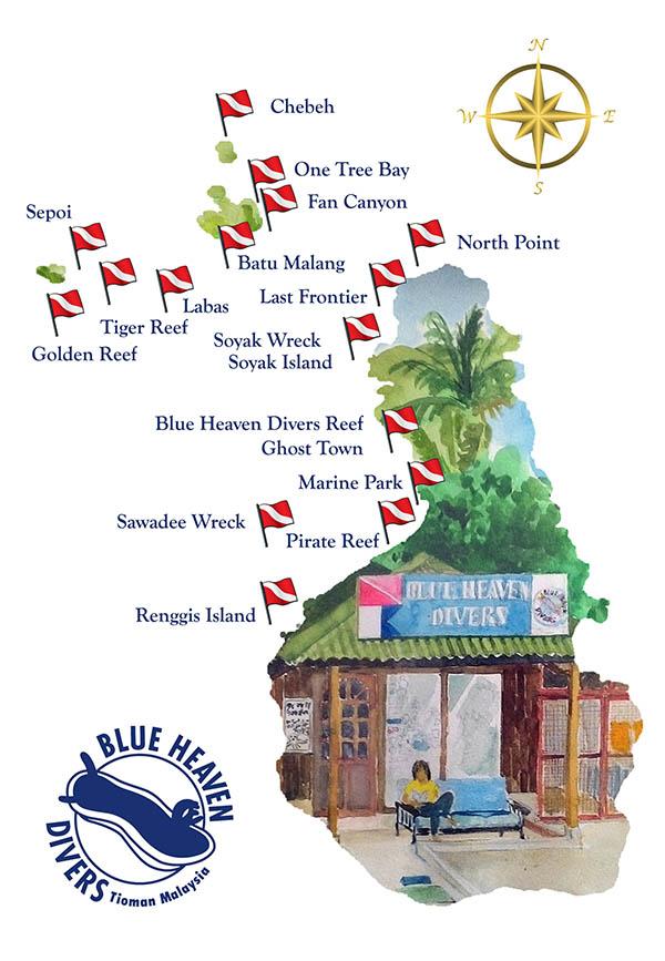 Tioman Dive sites map